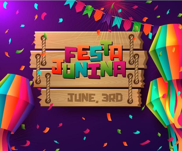 Festa junina brasil diseño de vacaciones Vector Premium