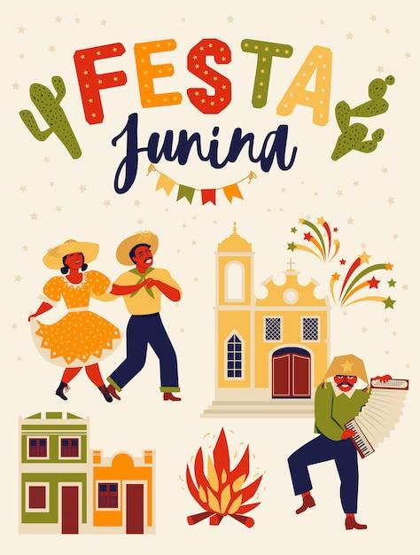 Festa junina brasil festival de junio Vector Premium