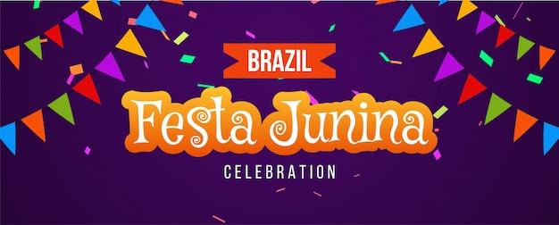 Festa junina brasileña fiesta colorida banner vector gratuito