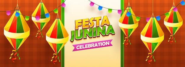 Festa junina cabecera de celebración Vector Premium