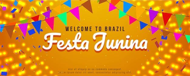 Festa junina festival celebración brillante banner vector gratuito
