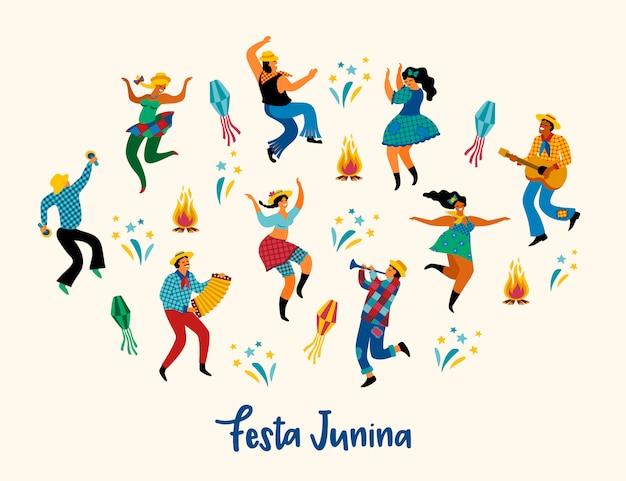 Festa junina. ilustración de baile divertido hombres y mujeres en trajes brillantes. Vector Premium