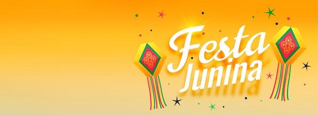 Festa junina impresionante celebración banner diseño vector gratuito