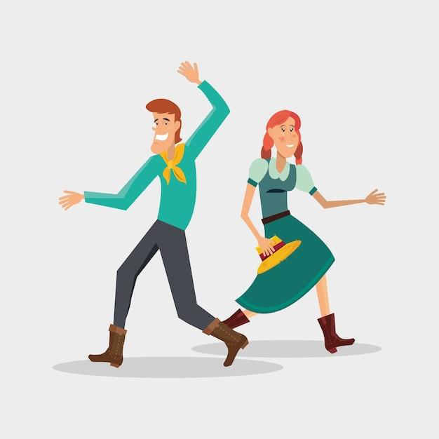 Festa Junina Con Pareja De Dibujos Animados Bailando Danza