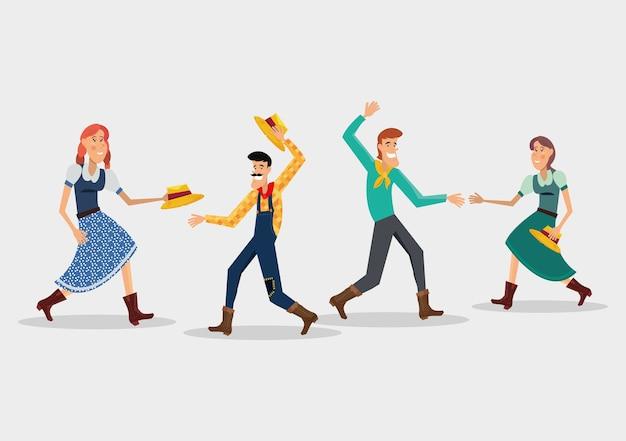 Festa Junina Con Parejas De Dibujos Animados Bailando Una