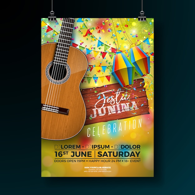 Festa junina party flyer illustration Vector Premium