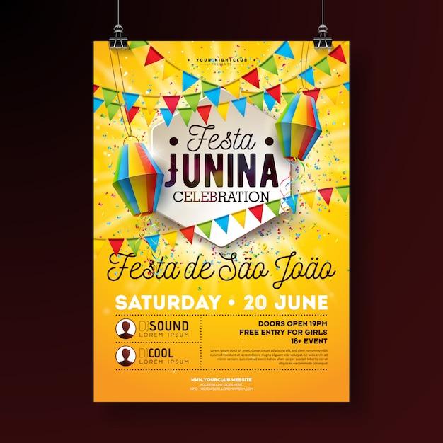 Festa junina party flyer ilustración con diseño de tipografía. banderas, linterna de papel y confeti sobre fondo amarillo. diseño del festival de junio de brasil para invitación o cartel de celebración navideña. vector gratuito