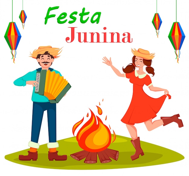 Festa junina tarjeta de felicitación Vector Premium