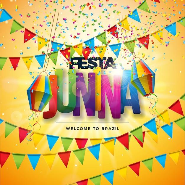Festa junina tradicional brasil festival de diseño Vector Premium