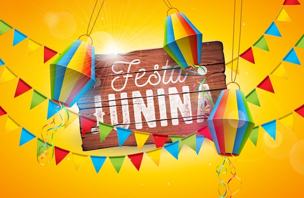 Festa junina tradicional brasil junio festival diseño Vector Premium