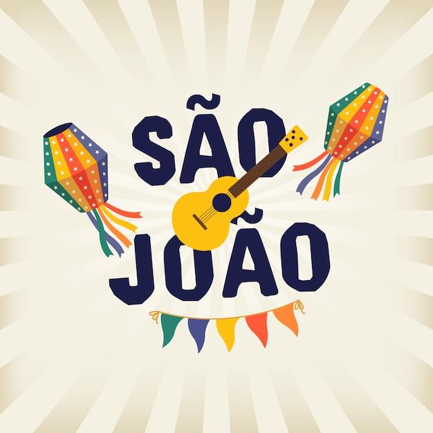Festa tradicional brasileña junina festa de sao joao. Vector Premium