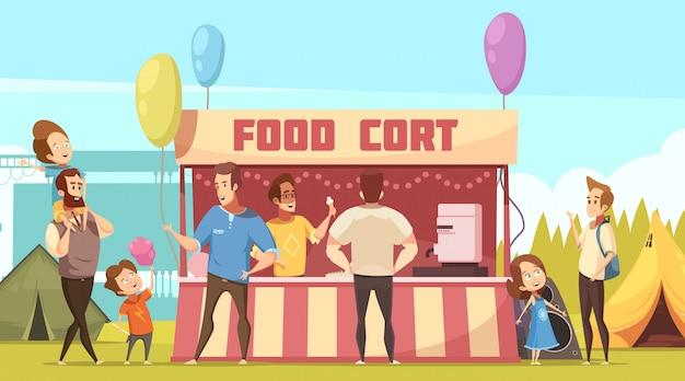 Festival de aire libre, área de acampada, banner de dibujos animados retro con tiendas de comida y padres con niños vector gratuito