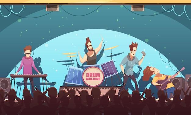 Festival al aire libre banda de rock música en vivo en el escenario banner de dibujos animados retro con instrumentos electrónicos y público vector gratuito
