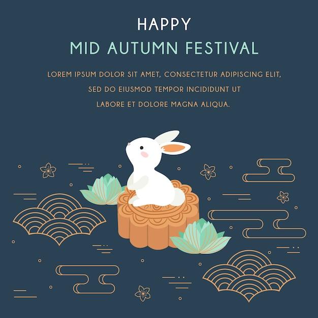 Festival chuseok / hangawi. festival de mediados de otoño con conejo y elementos abstractos. Vector Premium