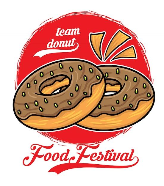Festival de comida de donas Vector Premium