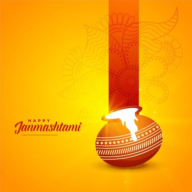 Festival hindú de janmashtami con fondo matki kalash vector gratuito