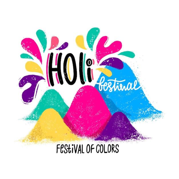 Festival holi dibujado a mano vector gratuito