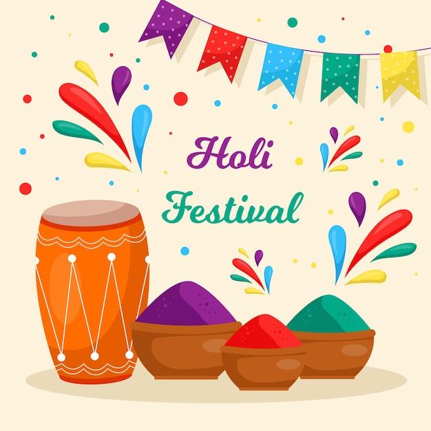Festival holi plano con guirnaldas y colores. vector gratuito
