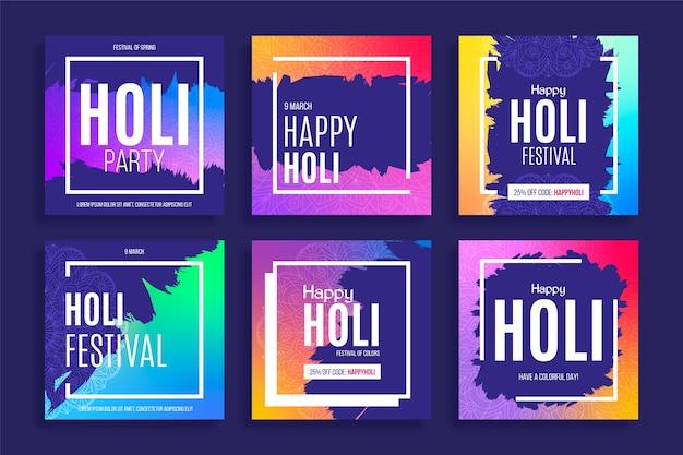 Festival holi de redes sociales con marcos coloridos vector gratuito