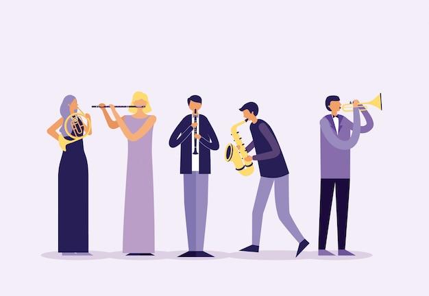 Festival de jazz de la gente vector gratuito