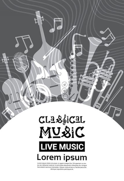 Festival de jazz música en vivo concierto cartel anuncio retro banner Vector Premium