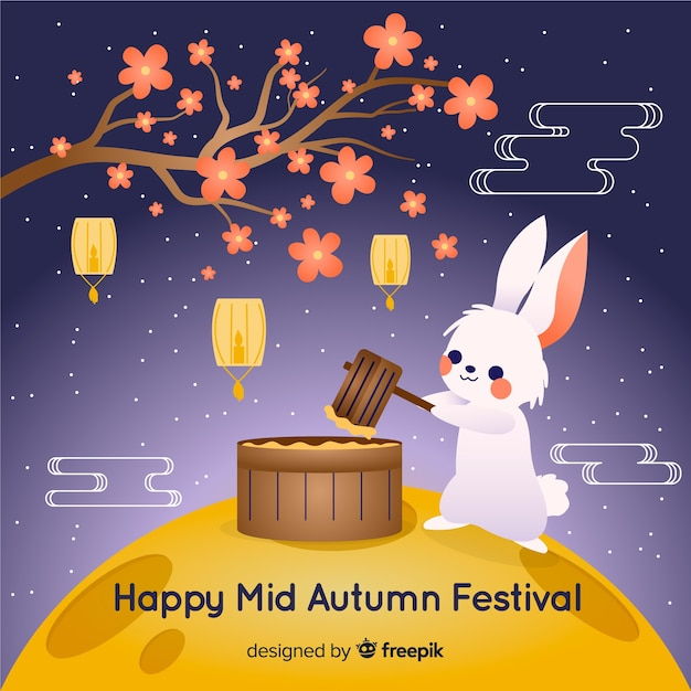 Festival de mediados de otoño dibujado a mano vector gratuito