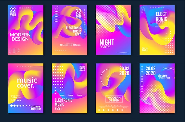 Festival de música electrónica diseño minimalista de carteles. fondo moderno colorido líneas punteadas para volante, cubierta. ilustración vectorial Vector Premium