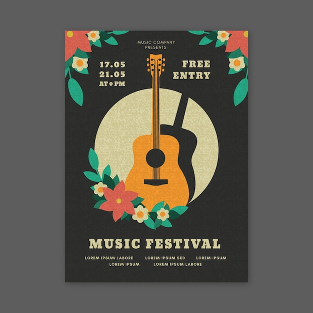 Festival de música estilo póster con guitarra vector gratuito