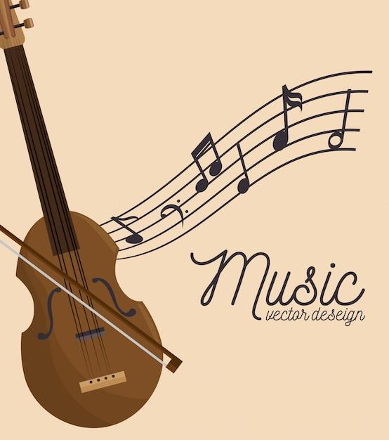 Festival de música violín de madera y notas vector gratuito