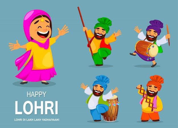 Festival popular de invierno punjabi folk lohri Vector Premium