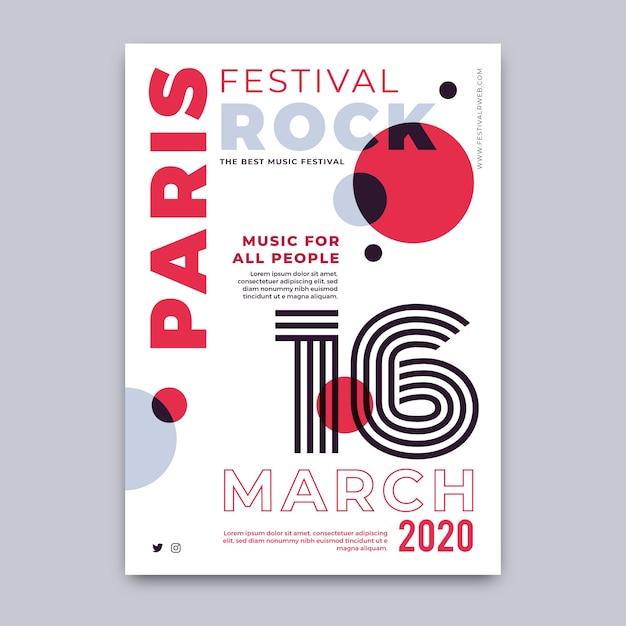 Festival de rock en paris plantilla de póster vector gratuito