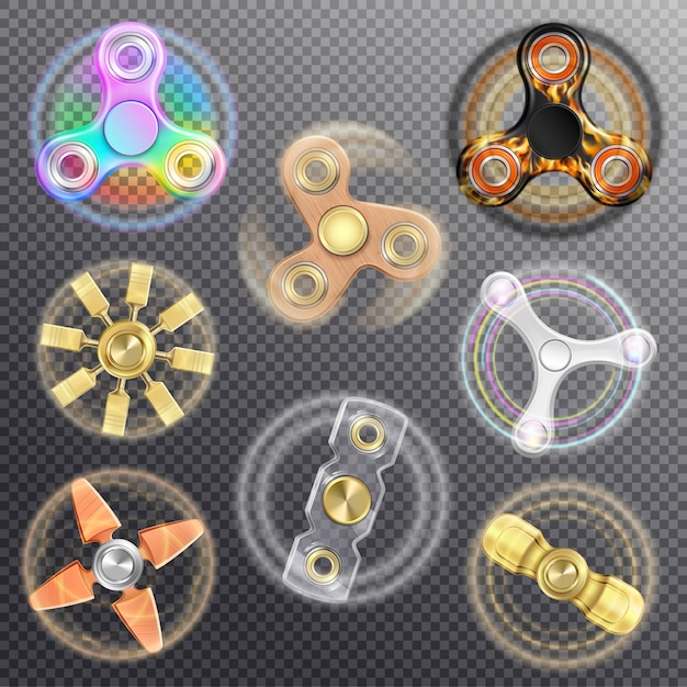 Fidget spinners set vector gratuito
