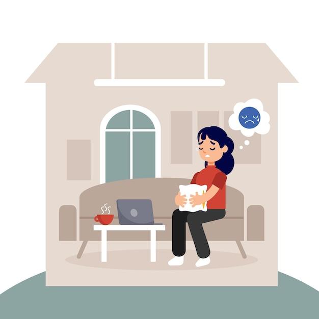 Fiebre de cabina con mujer en casa vector gratuito