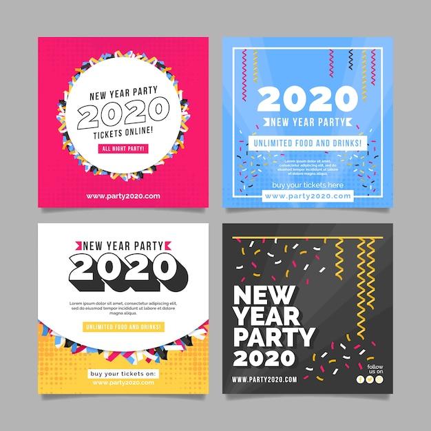 Fiesta de año nuevo instagram post set vector gratuito