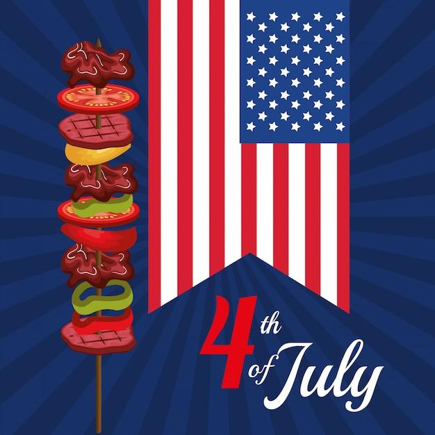 Fiesta de la barbacoa del día de la independencia de estados unidos. vector gratuito