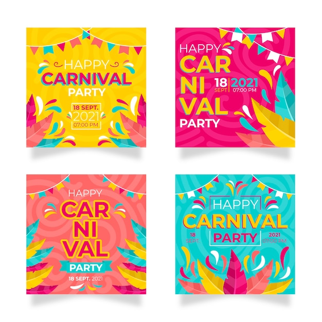 Fiesta de carnaval instagram post set vector gratuito