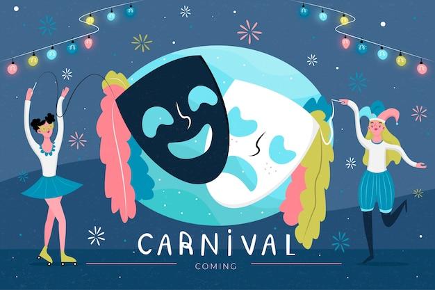 Fiesta de carnaval con máscaras de teatro y gente bailando vector gratuito
