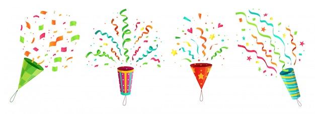 Fiesta de confeti popper. explotando la celebración de cumpleaños de confeti poppers y volando felicitaciones cintas conjunto de dibujos animados Vector Premium