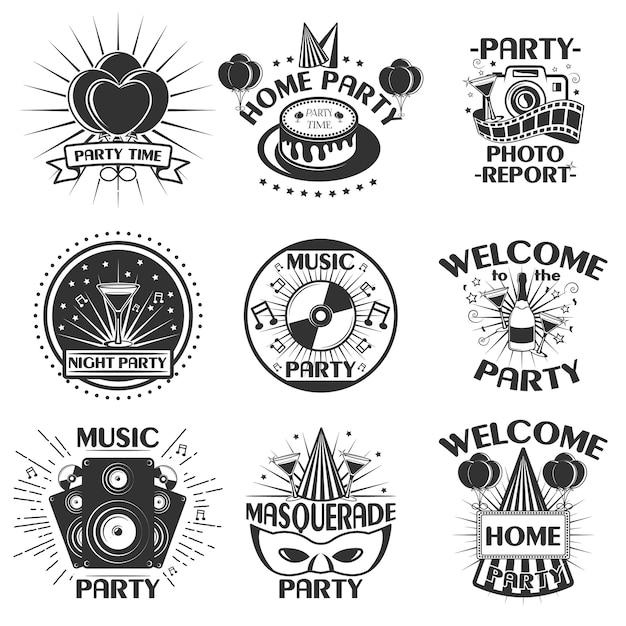 Fiesta conjunto de emblemas, insignias, pegatinas o pancartas. elementos de diseño en estilo vintage. iconos negros y logotipo aislado sobre fondo blanco. Vector Premium