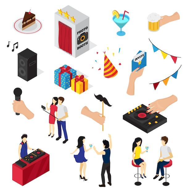Fiesta conjunto de iconos personas personajes decoraciones bebidas dulces invitación tarjeta y equipo de audio vector gratuito