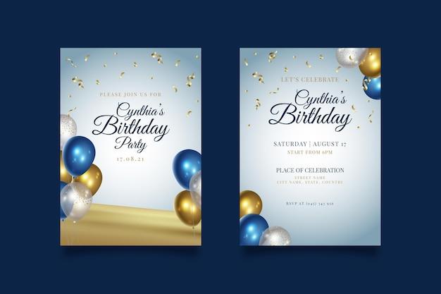 Fiesta de cumpleaños feliz con invitación de globos Vector Premium