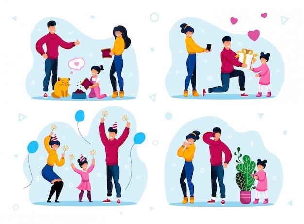 Fiesta de cumpleaños, juegos para el hogar, deberes para niños Vector Premium