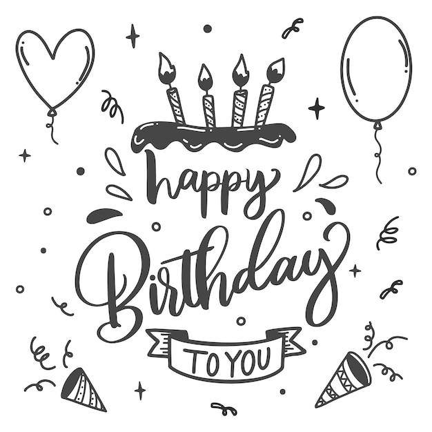 Fiesta de cumpleaños letras velas en pastel vector gratuito