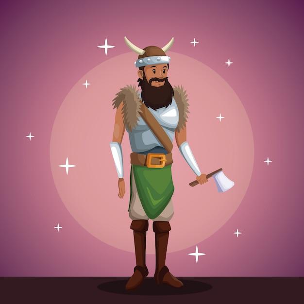 Fiesta de disfraces de hombre vikingo en el fondo del reflector ...