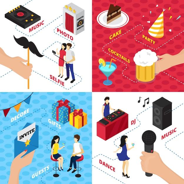 Fiesta con decoraciones cajas de regalo personajes ropa alcohol bebidas equipo de audio y personas vector gratuito