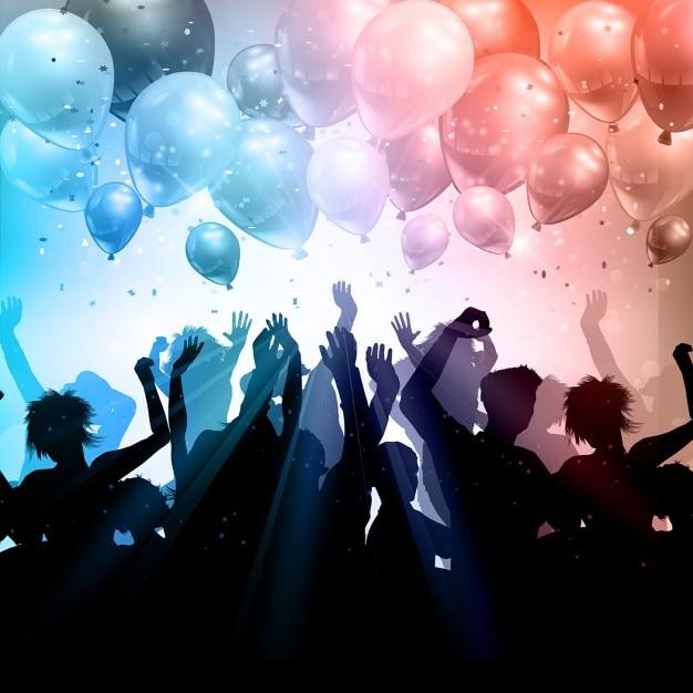 Fiesta con globos y siluetas vector gratuito