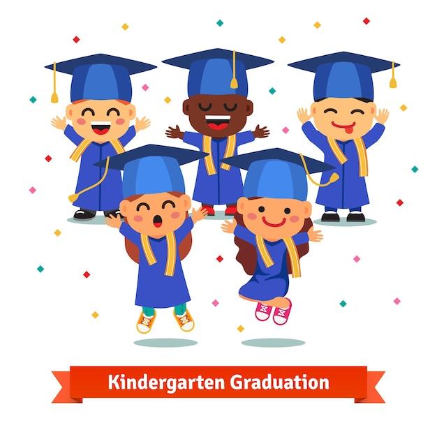 Fiesta de graduación de kindergarten vector gratuito