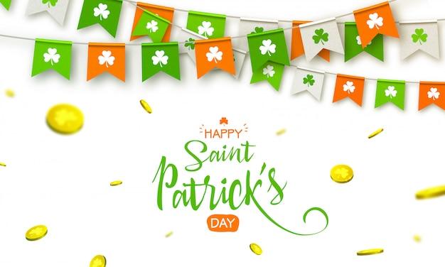 Fiesta irlandesa - feliz día de san patricio de fondo con guirnaldas de banderas y monedas Vector Premium