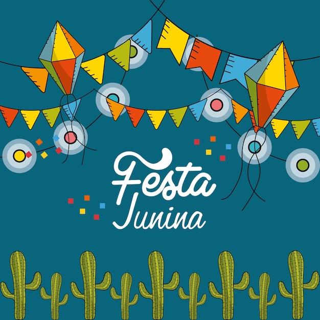 Fiesta junina con banderas fiesta y cadena bombillas con cometas Vector Premium