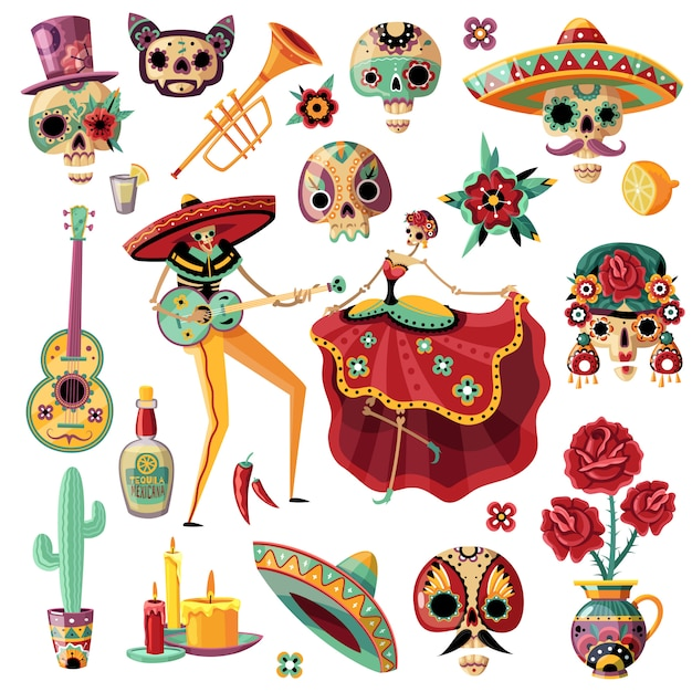 Fiesta mexicana del día de los muertos establece música étnica y danza máscaras decorativas velas flores vector gratuito